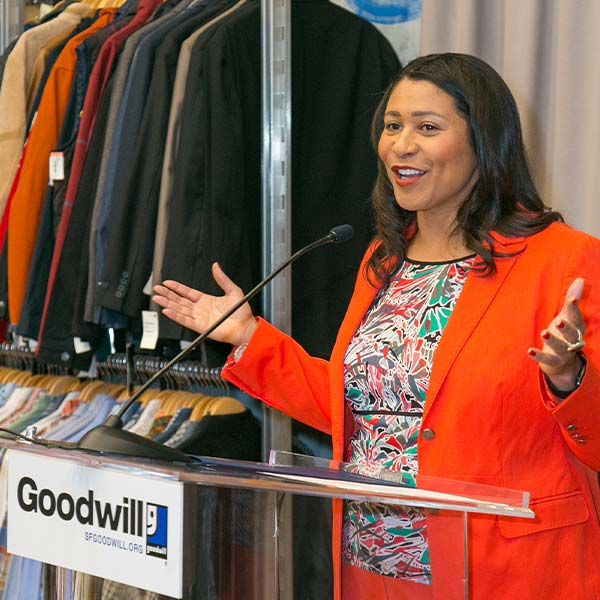 San Francisco Mayor London Breed speaks at the opening of the SF Goodwill training and career center.