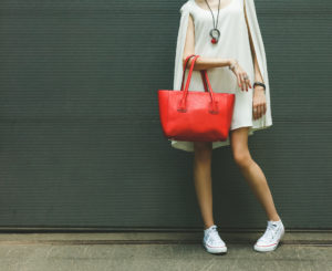 Bold red handbag and necklace